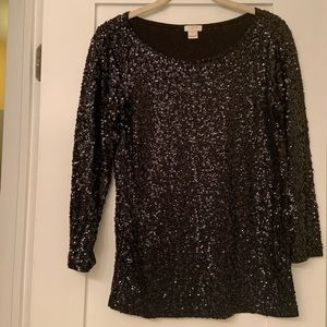 J. Crew Black Sequin Top